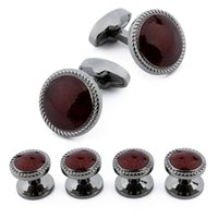 Wholesale New Arrival Studs Set Trendy Round Red Enamel Gun Plated Charming Men s Tuxedo Cuff Links And Studs