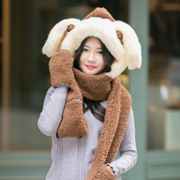 Wholesale 9 Color Han Edition Fashion Cute Plush Thickening Bonnet Autumn and Winter Season Warm Hat Scarf Gloves Three piece Suit Drop Shipping