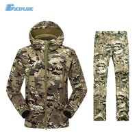 Wholesale TAD V4 Camouflage Shark Outdoor Waterproof Hiking Jacket Suit Men Army Hunting Set Military Hoody Softshell Jacket and Pants