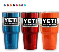 Wholesale Metallic color OZ YETI Tumbler Rambler Cups Stainless Steel Tumbler Mugs Travel Vehicle Beer YETI Mug