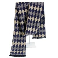 argyle scarf - British Style Long Winter Cashmere Men s Checkered Scarf Warm Plaid Wrap with Tassel Napping Argyle Pattern Blanket Gift for Men