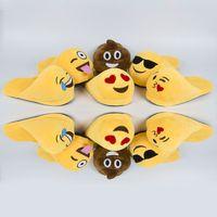 Wholesale 6 styles Emoji Cartoon Plush Slipper Shoes Emoji Soft Warm Household Winter Slippers for women and man cm