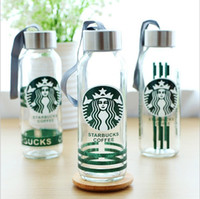 Wholesale Creative Glass water bottle glass bottle starbucks bottle kids water cup Student water glasses comes with the retail box