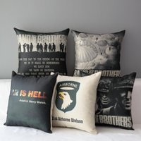 band of brothers - 45cm Black Band of Brothers Cotton Linen Fabric Throw Pillow inch Handmade New Home Office Bedroom Decoration Sofa Back Cushion