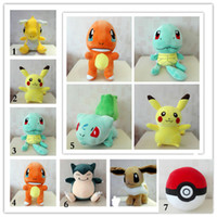 baby toy animals - EMS New Poke Plush Toys Pikachu Bulbasaur Squirtle Charmander Stuffed Animals Baby Doll cm Inch E1488