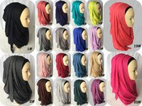 Wholesale Fashion Beauty Women Muslim Jersey Slip Cotton Solid Color Scarf Plain Hijabs Islamic Headband Instant Scarves Shawls
