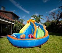 backyard pools - Kids Inflatable Water Slide Big Pool Bounce House Jumper Bouncer Jump Bouncy Castle