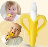 Wholesale Silicone Banana Toothbrush High Quality And Environmentally Safe Baby Teether Teething Ring HJIA645