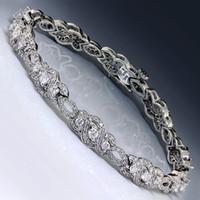 bar swirl - Estate ctw Round Diamond Swirl Link Bracelet in kt White Gold quot