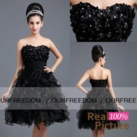 Wholesale In Stock Real Image Black Short Mini Graduation Dresses Sweetheart With D Flora Beaded Ruched Organza Homecoming Dresses Hot Sale