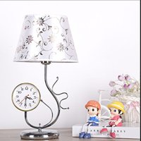 art deco desk clock - Princess Table Lamp with clock for Living Room Bedroom with white lampshade Stainless Rod modern Reading Lamp Desk Light