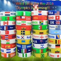 Wholesale Brazil Olympic Games Nationalflag Silicone Strap Rio DeJaneir Sport Bracelets for Women Men Wrist Wrap Fashion Wearable Bracelets Wholesales
