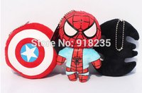 batman shield - New styles Spiderman Batman Captain America Shield Plush Doll The Avengers Keychain quot