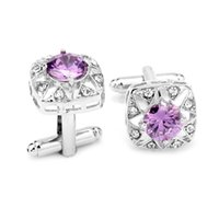 arrow cufflinks - Top Grade Hearts And Arrows AAA Purple Zircon Cufflinks For Mens And Women Square Brand Cuff Buttons Shirt Cuff Links Jewelry