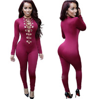 Wholesale Cheap Price Plus Size XXL Women Lace Up Jumpsuit Colors Elegant Deep V Neck Long Bodysuit Rompers Sexy Fashion Jumpsuit Overrall W860427