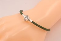 american ale - Green Charm Bracelets Fits For Pandora Style Sterling Silver Clip Clasp s925 ALE Beads Genuine Leather Bracelet DIY Jewelry