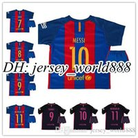 barcelona youth football - Barcelona home and away jerseys kids suit MESSI ARDA A INIESTA Suarez PIQUE I RAKITIC Neymar JR leave children youth football jerseys