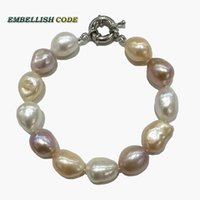 baroque ring - Rainbow Lustrous semi baroque irregular pearl bracelet Mixed color white pink purple stely real freshwater pearls for summer fine Jewelry