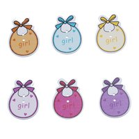 baby girl scrapbooking - 50PCs Fashion And Beauty Holes Wood Craft Scrapbooking Buttons Mixed Cute Baby Girl Bib Fit Sewing