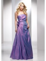 arts collection - Classic Strapless Flowers Waist A Line Lavender Taffeta Evening Dresses Cheap Fall Collection