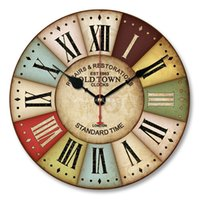 antique wood wall clock - Vintage Antique Wall Clocks MDF D Retro Clock Watch Home Decoration Round Country Tuscan Style Paris Wood Clock