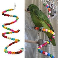 Wholesale Pc Small Elevated Station Parrot Toy Bouncing Cage Bird Hanging Swing Exercise Rainbow Spiral Wooden Parakeet Ladder Chew Toys
