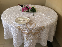 Wholesale White Color Satin Rosette Round Table Cloth For Wedding Party Hotel