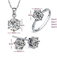 Wholesale High quality sterling silver jewelry sets necklaces earrings rings Classic six claw diamond ring fashion jewelry for women wedding gift