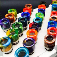 epoxy resin - Jade Stone Drip Tips Epoxy Resin Metal mouthpiece Resin Drip Tip for Atomizer Vape Wide Bore Mouthpiece Colorful drip tips