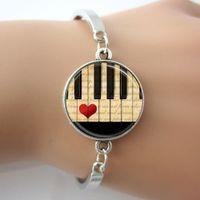 bar piano music - Music Jewelry Piano Bracelet Black and White Keyboard Glass Dome Bangle art alloy jewelry gift for women music teacher