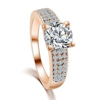Wholesale wedding ring Luxury High Quality Zircon Bride Gift Rings Jewelry Brief Women New Fashion Gold Plated Alloy Finger Rings SR469