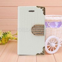 Wholesale White Bling Flip Wallet PU Leather Case Crocodile Cover For Apple iPhone S