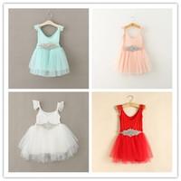 baby slip dress - 2015 New Design Girl Lace Dresses Baby Girl Sparkly Rhinestone Belt Slip Vest Princess Party Dress Children Pure Cotton Summer Dress