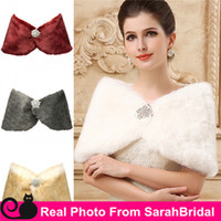 Short Sleeve fur - Cheap In Stock Bridal Wraps Fake Faux Fur Hollywood Glamour Wedding Jackets Street Style Fashion Cover up Cape Stole Coat Shrug Shawl Bolero
