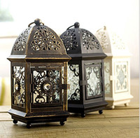 best candle lantern - 1 Castle Design Best Quality Weeding Candle Holder Hanging Lantern Iron Candlestick Colorful Glass Gift Garden And Shop Decoration