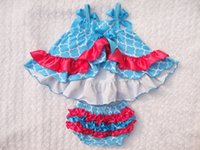baby swings for swing sets - Blue Baby Romper Outfit Baby Girl Swing Set Red Lace Baby Romper sleeveless T shirt Bloomers set for baby