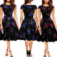 Wholesale New Hot Good Selling Ladies Women Casual fashion Summer Vintage Rose Short sleeved OL Dress Clothes
