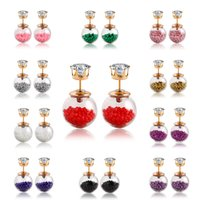 Wholesale Hot Selling Double Sided Earrings for Women Transoarent Glass ABS Pearl Ball Earring Fashion Jewelry European Cute Stud Earing