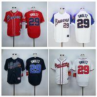 atlanta embroidery - Top Quality Cheap Atlanta Braves Jerseys John Smoltz Jerseys Authentic Stitched Baseball Jerseys Embroidery Logos