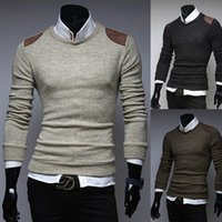 Wholesale Personalize Patchwork Men Sweaters Solid Color Slim Fit Warm Autumn Sweater For Men Round Neck Pullover Men Long Sleeve Sweaters J160462