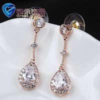 Wholesale And Retail Women Wedding Dangle Earrings Made Of Copper Alloy And K Gold Plating Jewelry Factory