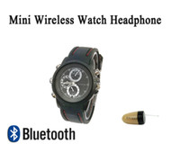 Wholesale 2016 New Watch Bluetooth Wireless Hidden Invisible Earphone Spy Earpiece spy Earpiece FBI with phone Android IOS