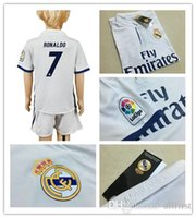 Wholesale 16 Youth Real Madrid Soccer Jersey Home White Soccer Kit RONALDO SERGIO RAMOS JAMES BALE ISCO PEPE MARCELO Kids Soccer Uniforms