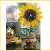 Wholesale 3D three dimensional cross stitch crewel table clock bracket clock sunflower artificial flowers DIY handwork handcraft birthday gift clocks