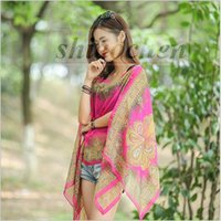 beach sarongs - Chiffon Beach Smock Towels Fashion Wrap Pareo Flowers Bikini Cover Ups Sarong Beach Dress Sunscreen Shawl Beachwear Swimdress Scarf A768