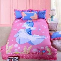 ariel washing - Mermaid Ariel Princess bedding set pink cartoon girl bed sets cotton twin queen size duvet cover sheet pillow case