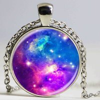 best crystal glasses - Fashion Galaxy Nebula Space Pendant Necklace Glass Cabochon Vintage Jewelry Statement Chain Necklace Women Best Gift