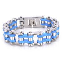 best bicycle chain - New Fashion Silver Blue Stainless Steel Bicycle Chain Bracelet Mens Jewelry mm Best Xmas Gift For Men