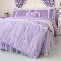 Cheap Accept Custom Brand Purple Korean Princess Bedding Set King Size Bedspread Ruffle Bedskirt Cotton Bed Skirt Sets Bedclothes Kids