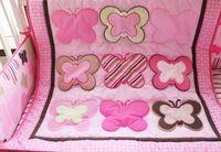 Wholesale 7pcs Baby bedding set Embroidery various butterfly Crib bedding set cotton Cot bedding set Quilt Bumper Mattress Cover bedskirt